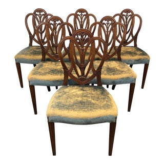 Mahogany Hepplewhite Prince of Wales Dining Side Chairs - Set of 6 For Sale