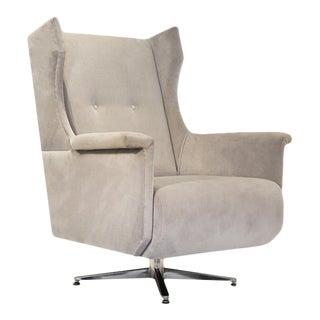 Velvet Stone Coloured Swivel Chair For Sale