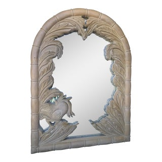 Vintage Coastal Regency Wood Carved Palm Leaf and Phoenix Bird Mirror For Sale