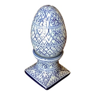 Vintage Blue and White Ceramic Egg Salt and Pepper Set For Sale
