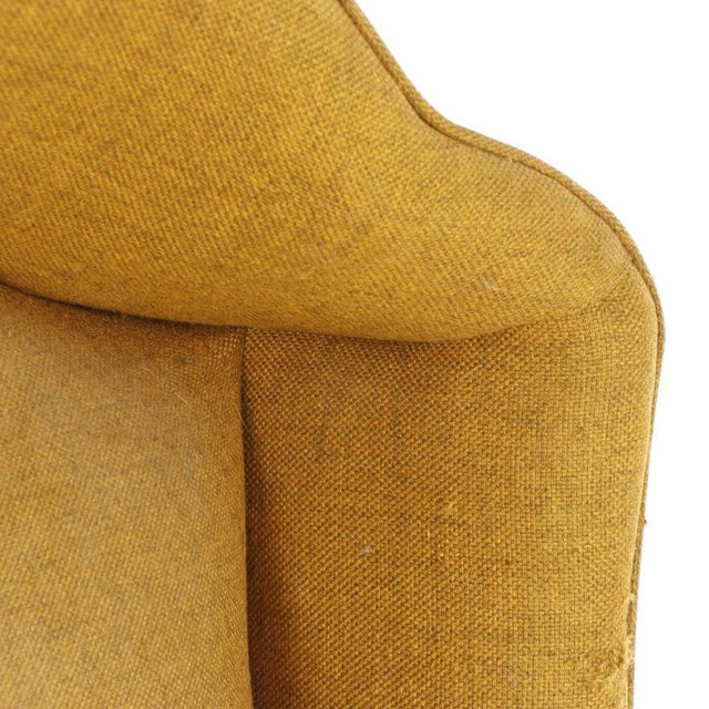 Vintage Mid-Century Porter's Chair in Mustard Wool Upholstery on a Limed Wood Base For Sale - Image 11 of 13