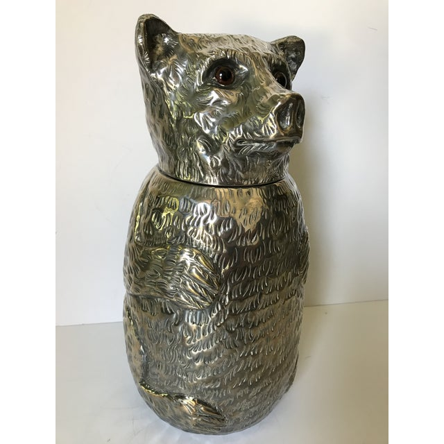 Italian Silver Plated Bear Wine Cooler For Sale - Image 4 of 12