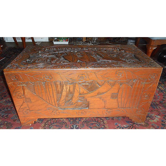 Asian Antique Original Hand Carved Mahogany Chest/Coffee Table-Camphorwood Lined For Sale - Image 3 of 10