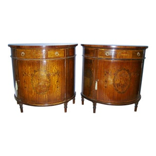 1940s Traditional Inlaid Demilune Chests Nightstands - a Pair For Sale