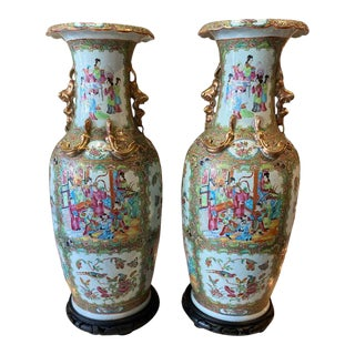 Chinese Famille Rose Vases with Wooden Stands - A Pair For Sale