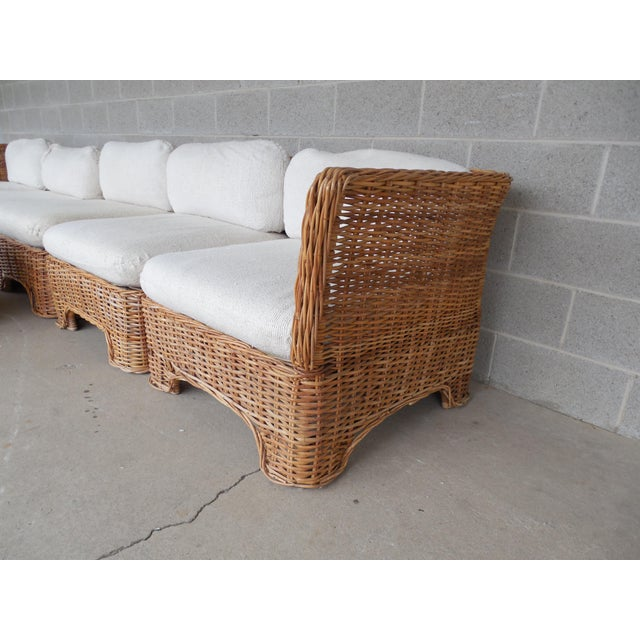 Vintage Wicker Sectional Patio Seating Set - Set of 6 - Image 8 of 8