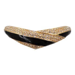 1987-88 Napier Goldtone Black Enamel & Pav Rhinestone Cuff Bracelet For Sale