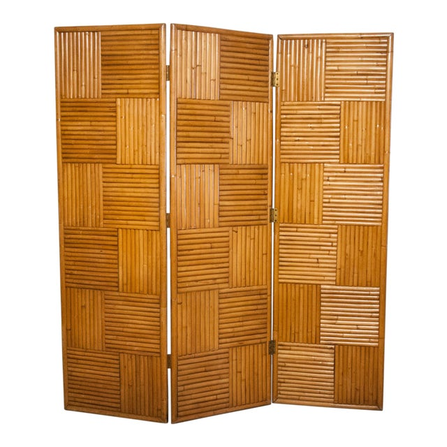 Circa 1950 Vintage Japanese Rattan 3 Panel Folding Screen For Sale