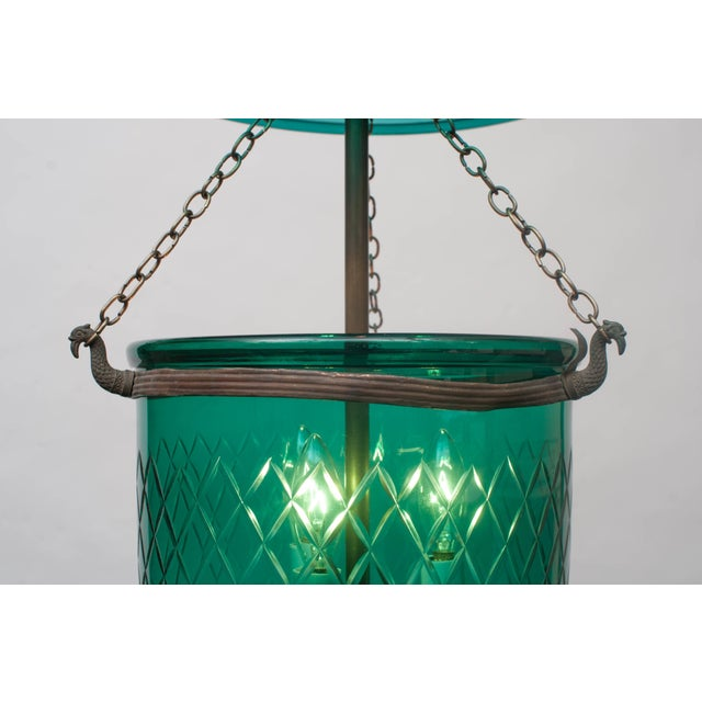 Handblown and cut with unique color and design - glass pontil (finial) - originally candle or oil-burning, now wired with...