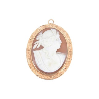 Victorian Shell 9k Gold Cameo Brooch Pendant For Sale