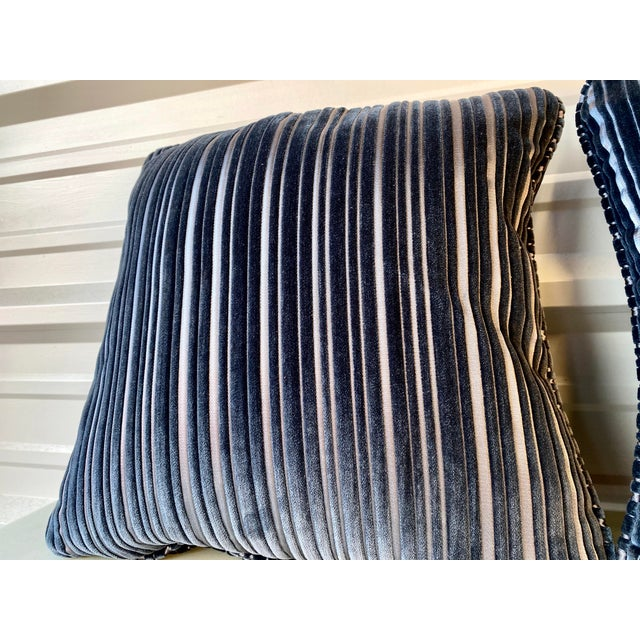 A contemporary pair of navy blue stripped pillows. Very soft and with interesting two tone rippled stripes. Custom made