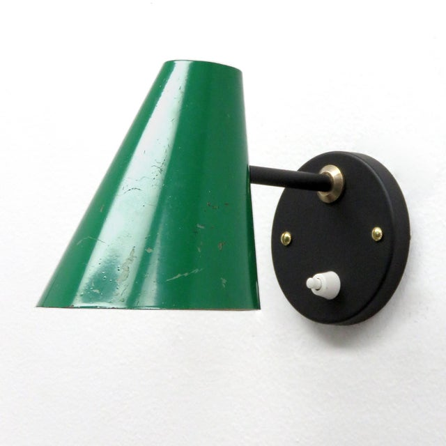Metal Green Jacques Biny Wall Lamps, 1950 - a Pair For Sale - Image 7 of 9