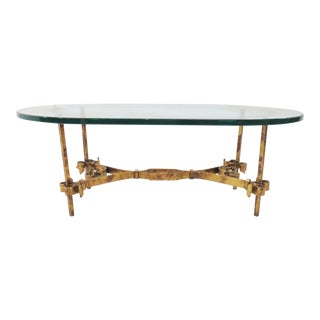 Hollywood Regency Glass & Gold Iron Coffee Table