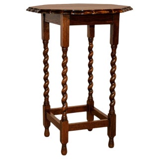 1900s Edwardian Octagonal Scalloped Side Table For Sale