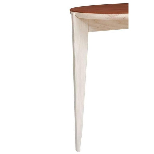 Stillmade solid ash tripod side table with leather top designed by Paul Mignogna for Stillmade in natural oil and wax...