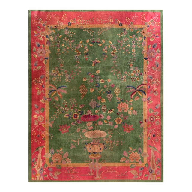 """Antique Chinese Art Deco Rug 8'10"""" X 11'6"""" For Sale"""