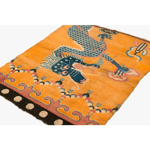 """19th Century Dragon Rug-4'1'x5'4"""" For Sale - Image 9 of 10"""