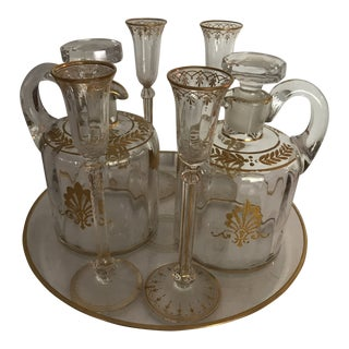 Antique Gold Accent Cordial Pitcher Serving Set