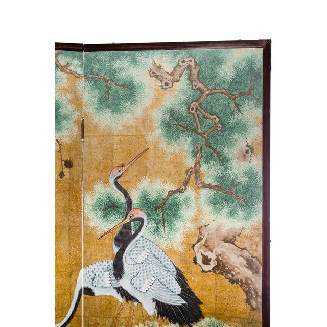 """Contemporary Japanese Style 2-Panel """"Cranes at Rest"""" Hand-Painted Gold Foil Screen by Lawrence & Scott For Sale - Image 3 of 11"""