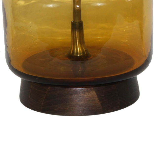 Mid-Century Modern Italian Glass Walnut Lamp - Image 3 of 5