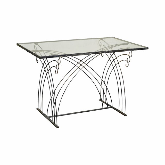 Art Deco Vintage Studio Wrought Iron Glass Top Patio Console Table For Sale - Image 13 of 13
