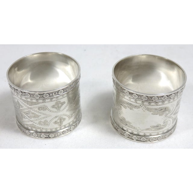 1870s Antique Sterling Silver Napkin Rings - a Pair For Sale - Image 4 of 13