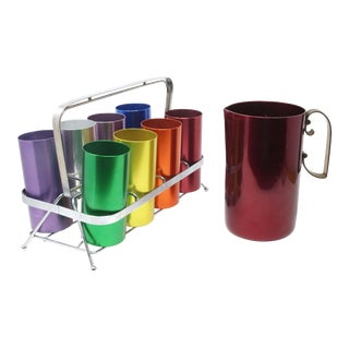 Vintage Barware Anodized Aluminum Cups and Caddy With Pitcher - Set of 10 For Sale