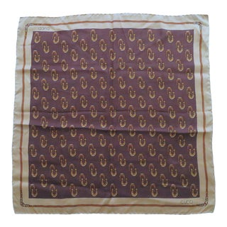 Vintage Gucci Equestrian Silk Scarf For Sale