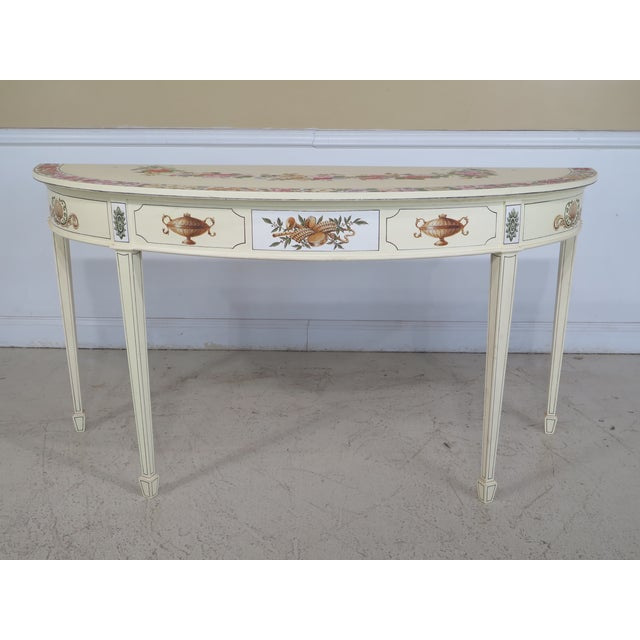 Adam Style Paint Decorated Demi-lune Console Table For Sale - Image 11 of 11