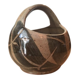 Christy Lasater Salt Glazed Pottery Thrown Cut Basket For Sale