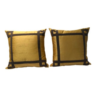 Contemporary Yellow Silk Pillows With Grey Embellishments - a Pair For Sale