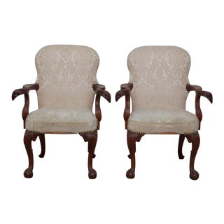 20th Century George II Style Mahogany Armchairs - a Pair For Sale