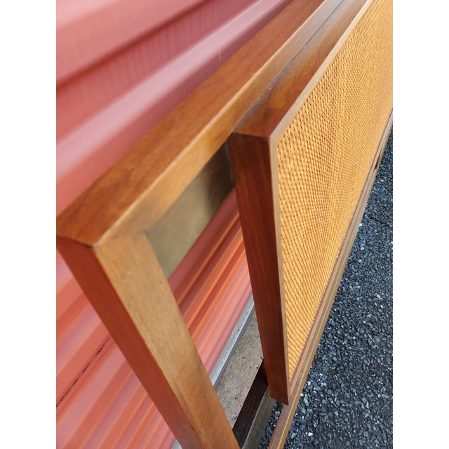 Mid-Century Modern Walnut and Cane King Headboard Designed by Kipp Stewart for Calvin For Sale In Baltimore - Image 6 of 9