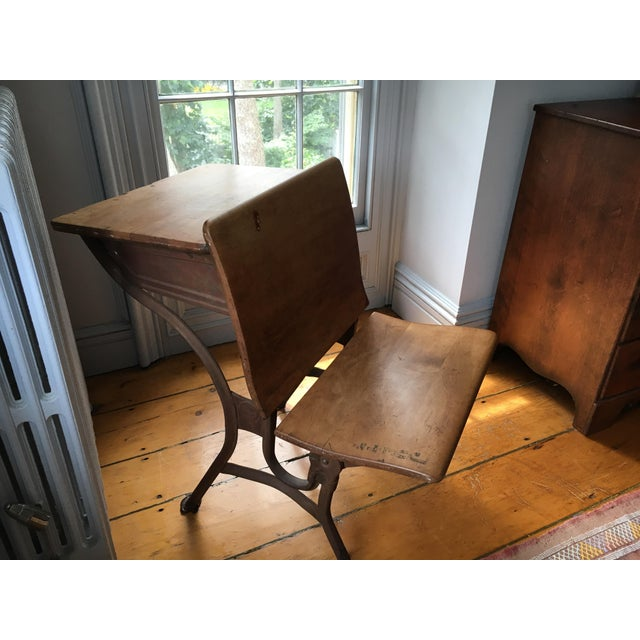 Iron Vintage School Desk & Bench Chair For Sale - Image 7 of 7