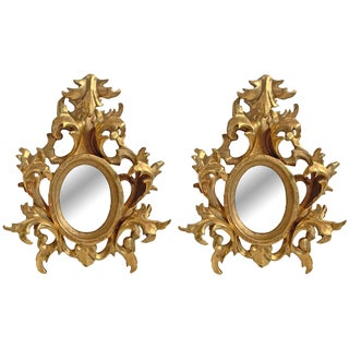 Petite Italian Gilt Framed Mirrors - a Pair For Sale