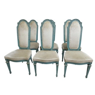 1940s Vintage Baker Furniture French Regency Dining Chairs- Set of 6 For Sale