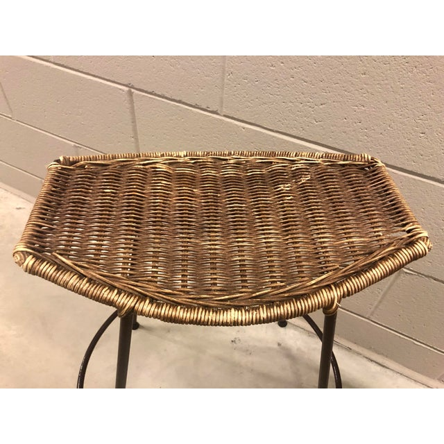 Raymor 1970's Arthur Umanoff Wrought Iron & Wicker Stools - a Pair For Sale - Image 4 of 11