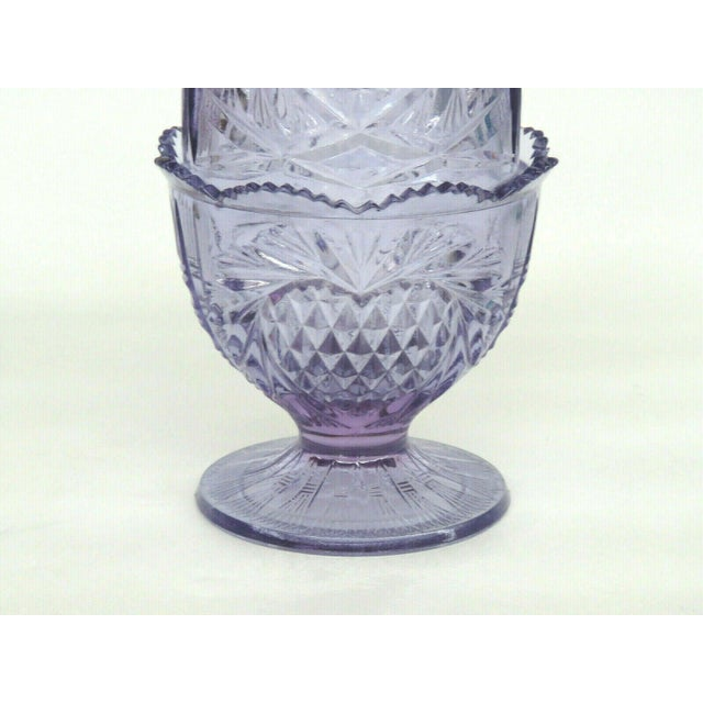 Fenton Wisteria New Heart Purple Glass Two Piece Fairy Lamp Candle Holder For Sale - Image 9 of 11