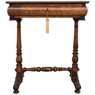 19th Century Italian Louis Philippe Walnut Sewing Table, Side Table With Drawer For Sale