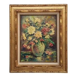 1969 Louis Wroblownski Flower Still Life Oil Painting For Sale