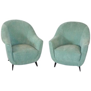 Mid-Century Modern Italian Teal Upholstered Club Chairs - a Pair For Sale