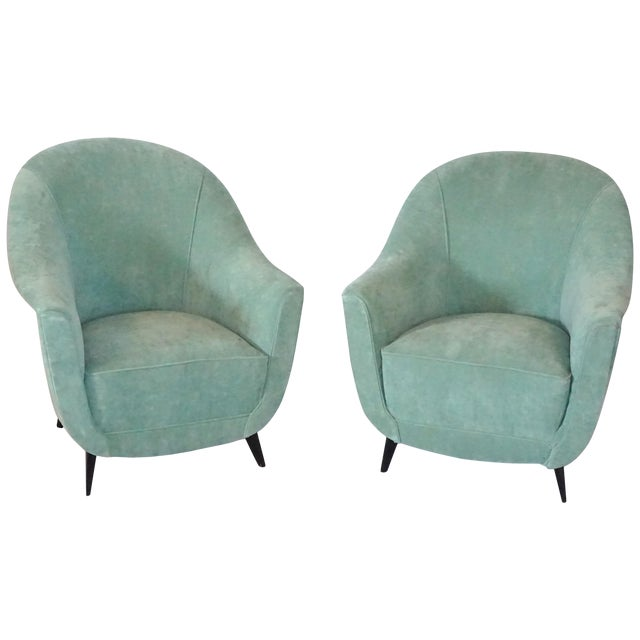 Pair of Mid-Century Club Chairs by Marco Zanuso For Sale