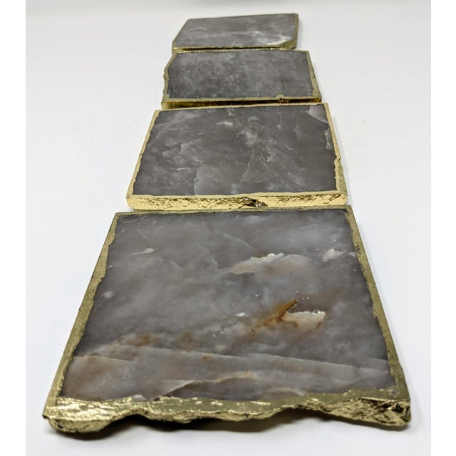 Organic Modern Smoke Gray Agate Coasters With Gold Metal Edge - Set of Four (4) For Sale - Image 10 of 12