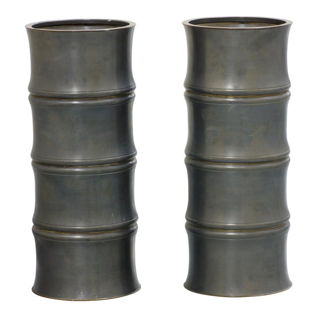 1950s Pewter Bamboo Chinoiserie Urns - a Pair For Sale