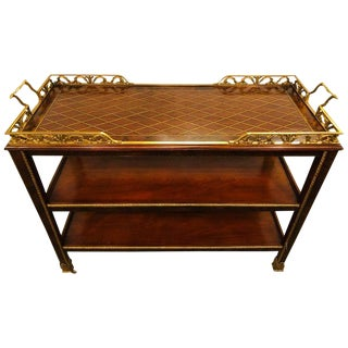 Tea / Serving Cart Étagère With Marquetry Top Shelf and Bronze Mounts French For Sale