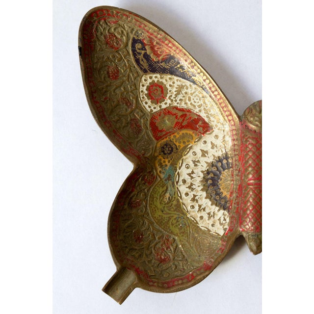 Asian Painted Brass Butterfly Trinket Dish For Sale - Image 3 of 5