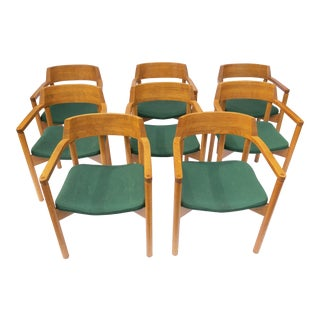 Vintage Oak Dining Chairs - Set of 8