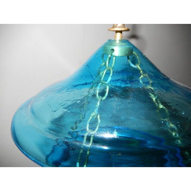 English Cobalt Blue Bell Jar Lantern Chandelier For Sale - Image 6 of 13