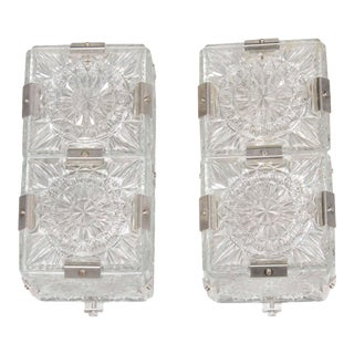 Pair of Mid Century Modernist Sunburst Design Etched Glass Sconces by Kinkeldey For Sale