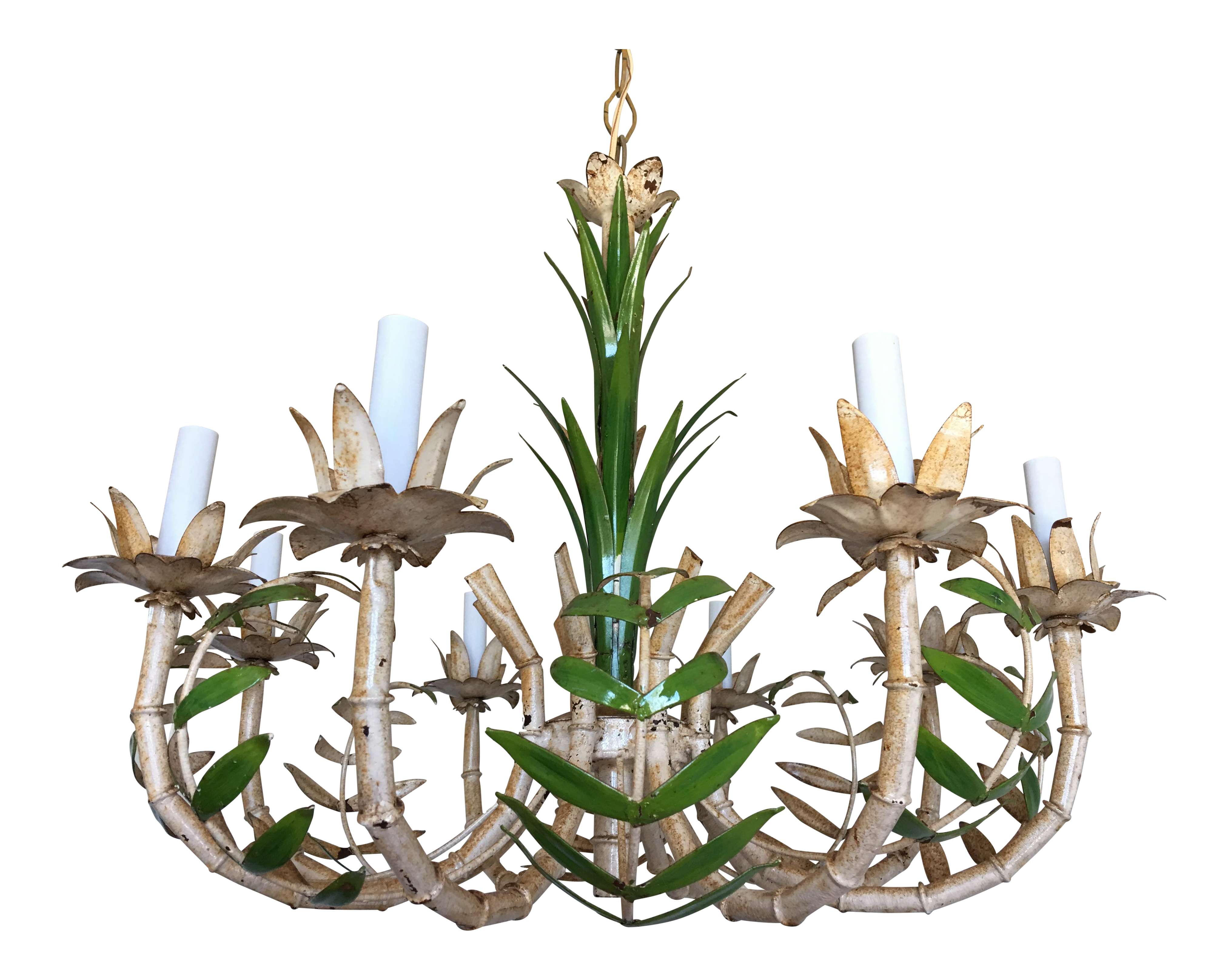 1950s Bamboo Palm Chandelier Chairish